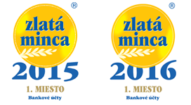 Zlatá minca - Bankové účty - 2015 a 2016